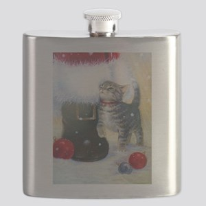 Kitten at Santa's Boot Flask