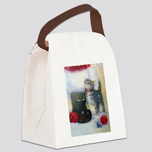 Kitten at Santa's Boot Canvas Lunch Bag