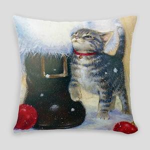 Kitten at Santa's Boot Everyday Pillow