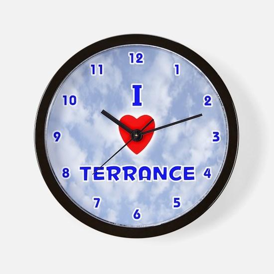I Love Terrance (Blue) Valentine Wall Clock
