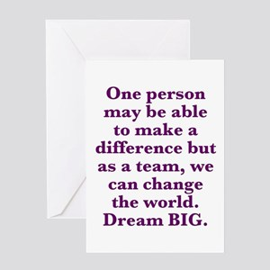 Dream big greeting cards cafepress team world change greeting cards m4hsunfo