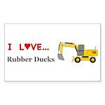 I Love Rubber Ducks Sticker (Rectangle 10 pk)