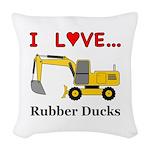 I Love Rubber Ducks Woven Throw Pillow
