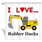 I Love Rubber Ducks Shower Curtain