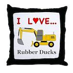 I Love Rubber Ducks Throw Pillow