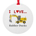 I Love Rubber Ducks Round Ornament