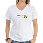 I Love Ducks Women's V-Neck T-Shirt