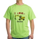 I Love Ducks Green T-Shirt