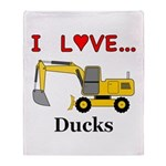 I Love Ducks Throw Blanket