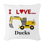 I Love Ducks Woven Throw Pillow