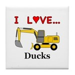 I Love Ducks Tile Coaster