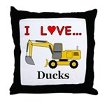 I Love Ducks Throw Pillow
