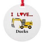 I Love Ducks Round Ornament