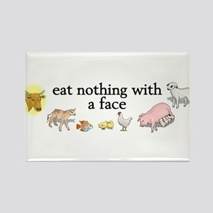eat nothing with a face Rectangle Magnet
