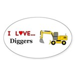 I Love Diggers Sticker (Oval 50 pk)