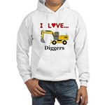I Love Diggers Hooded Sweatshirt