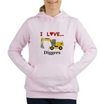 I Love Diggers Women's Hooded Sweatshirt