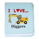 I Love Diggers baby blanket
