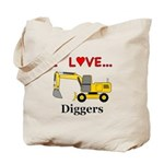 I Love Diggers Tote Bag