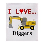 I Love Diggers Throw Blanket