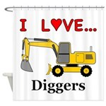 I Love Diggers Shower Curtain