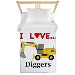I Love Diggers Twin Duvet