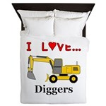 I Love Diggers Queen Duvet