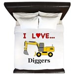 I Love Diggers King Duvet