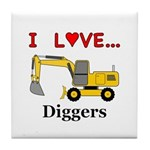 I Love Diggers Tile Coaster