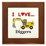 I Love Diggers Framed Tile