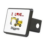 I Love Diggers Rectangular Hitch Cover
