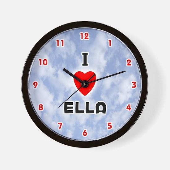 I Love Ella (Red/Blk) Valentine Wall Clock