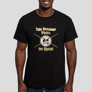 Drum For Christ Men's Fitted T-Shirt (dark)