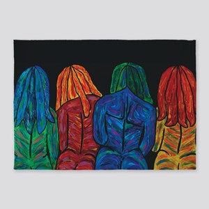 Four Female Abstract Body Portrait 5'x7'Area Rug