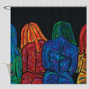 Four Female Abstract Body Portrait Shower Curtain