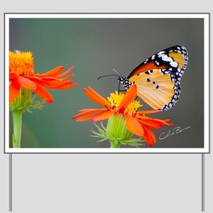 African Monarch butterfly on a flower Yard Sign