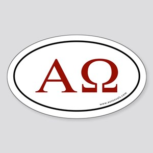 Alpha and Omega Sticker -Red Letter (Oval)