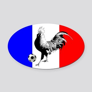 French Football Flag Oval Car Magnet