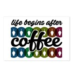 Life begins after coffee Postcards (Package of 8)