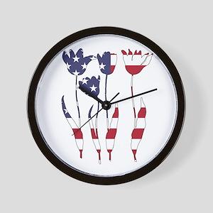 American Flag - Tulips Wall Clock
