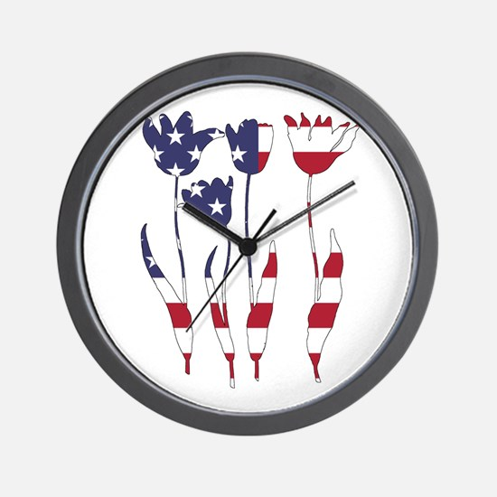 American Flag - Tulips Wall Clock