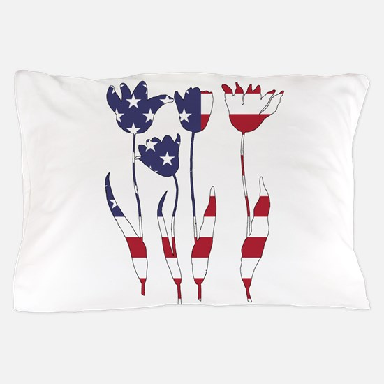 American Flag - Tulips Pillow Case