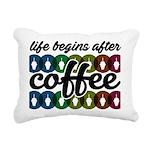Life begins after coffee Rectangular Canvas Pillow
