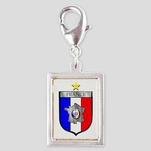 French Football Shield Silver Portrait Charm