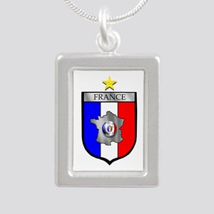 French Football Shield Silver Portrait Necklace