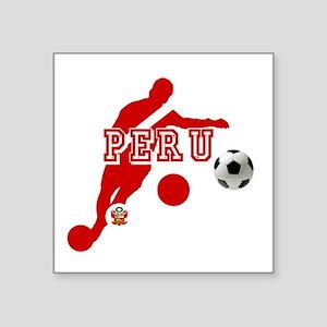 "Peru Football Player Square Sticker 3"" x 3"""
