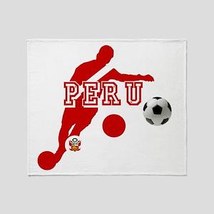 Peru Football Player Throw Blanket