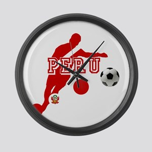 Peru Football Player Large Wall Clock