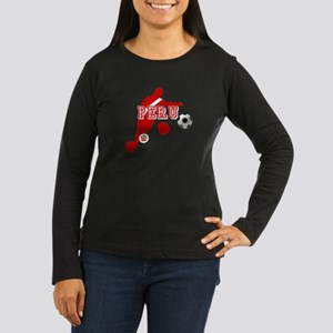 Peru Football Pla Women's Long Sleeve Dark T-Shirt