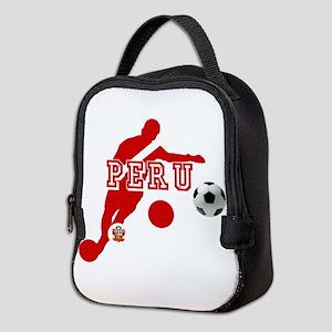 Peru Football Player Neoprene Lunch Bag